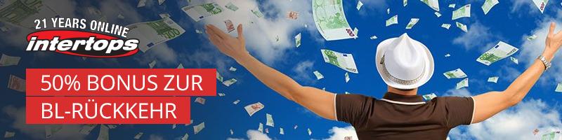 Bis zu 100€ Bonus zur BL-Rückkehr bei Intertops