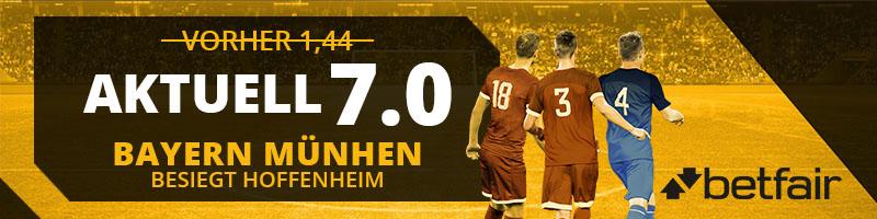 Bayern München besiegt Hoffenheim: Neukundenaktion bei Betfair
