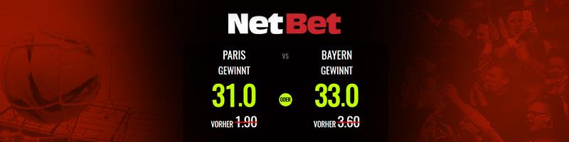 Quotenboost für Paris vs. Bayern bei NetBet