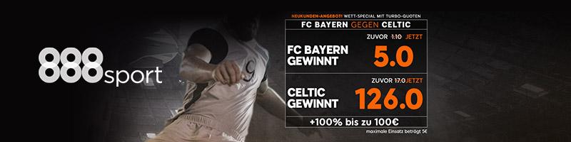 Turbo-Wett-Special für Bayern gegen Celtic bei 888sport