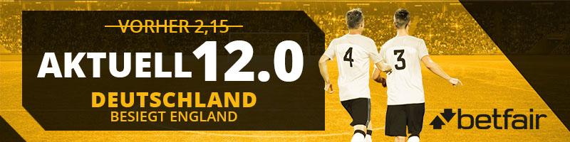 Betfair präsentiert Turbo-Quote von 12.0 für Deutschland gegen England