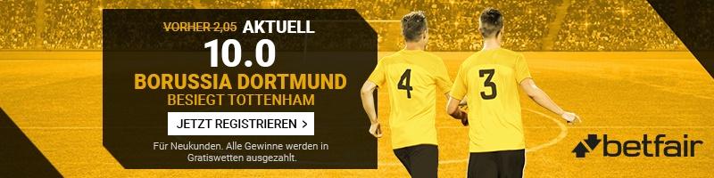 Die Borussia Dortmund Fans können mit einer unglaublichen Wettquote von Betfair rechnen