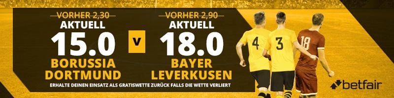 Erhöhte Wettquoten im Spiel Dortmund vs. Leverkusen für alle Neukunden auf Betfair