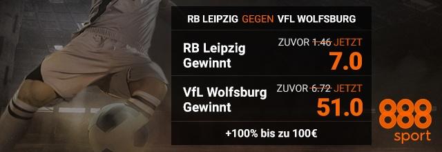 888sport bietet erhöhte Quoten für die Begegnung RB Leipzig gegen VfL Wolfsburg