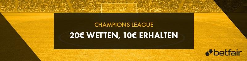 Bei Betfair in der Europa League 20€ wetten und 10€ Gratiswette sichern
