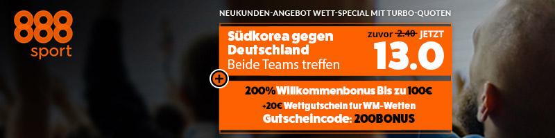 Spezialwette mit Turboquoten bei 888sport zum Spiel Deutschland vs Südkorea