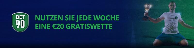Jetzt bei bet90 auf die Fußball WM 2018 wetten und 20€ gratis erhalten