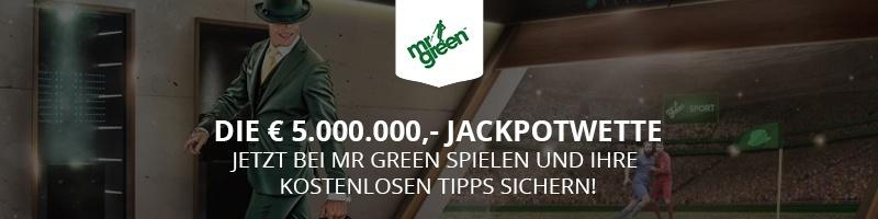 Bei Mr Green spielen und den 5.000.000 Euro Jackpot sichern