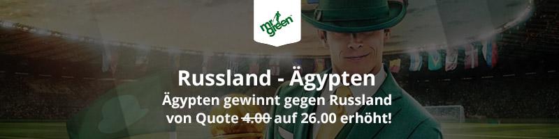 Mr Green Sport Spezialquote von 26.00 für die Begegnung Russland vs. Ägypten