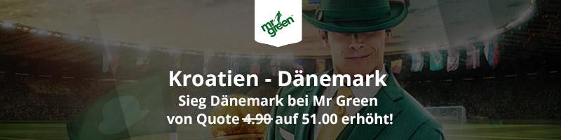 Mr Green Sport: Quote 51.0 auf einen dänischen Sieg im Spiel vs Kroatien