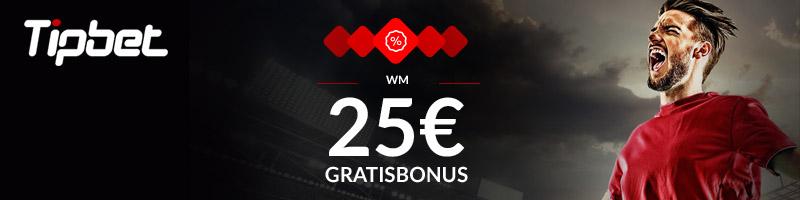 25€ Gratis Bonus für die WM bei Tipbet