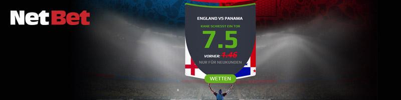 NetBet mir verbesserter Quote, dass Kane ein Tor schießt beim Spiel England vs. Panama