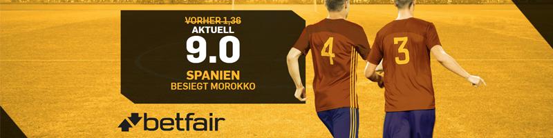 9.0 Top Quote für das WM Spiel Spanien – Marokko bei Betfair