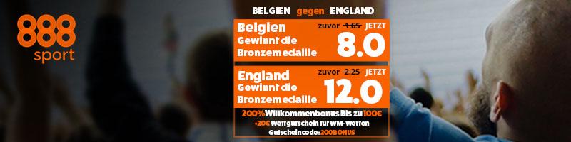 Quoten Boost bei 888sport für das Spiel England vs. Belgien