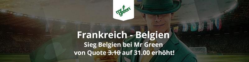 Mr Green Sport: Frankreich gegen Belgien mit enormer Quote von 31.0