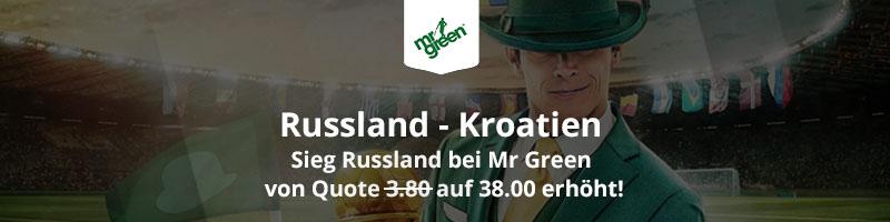 Neukunde bei Mr Green Sport werden und auf einen Sieg Russlands zur verbesserten Quote von 38.0 wetten