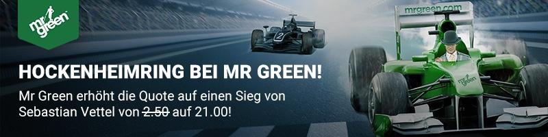 Mr Green Sport bietet verbesserte Quote für Neukunden auf einen Sieg von Sebastien Vettel an