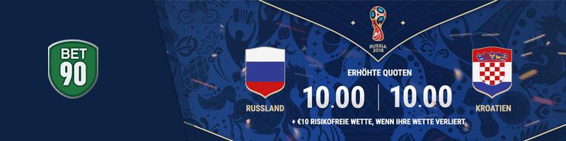 bet90 bietet seinen Neukunden erhöhte Quoten im Rahmen der WM 2018