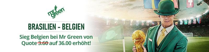 36 Quote für Sieg Belgiens bei Mr Green Sport