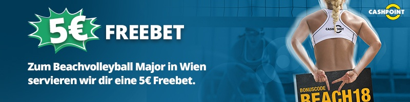 Nun bei Cashpoint 5€ Freebet für Beachvolleyball Major holen