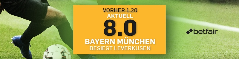 Verbesserte Quote von 8.0 bei Betfair auf den Sieg von Bayern München