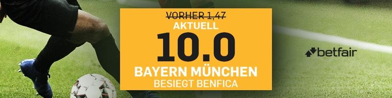 10.0 Quote bei Betfair für Sieg von Bayern gegen Benfica