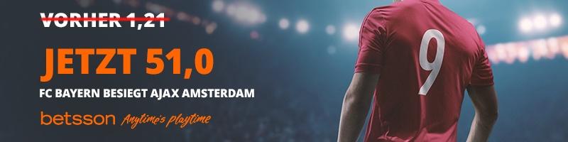 Für Sieg von FC Bayern München gegen Ajax Amsterdam – Quote von 51.0 bei Betsson sichern