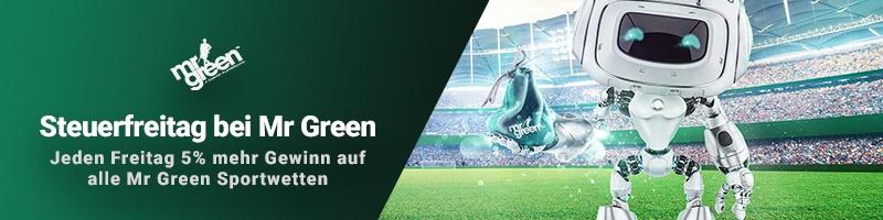 Neu bei Mr Green Sport: Der Steuerfreitag plus Willkommensbonus