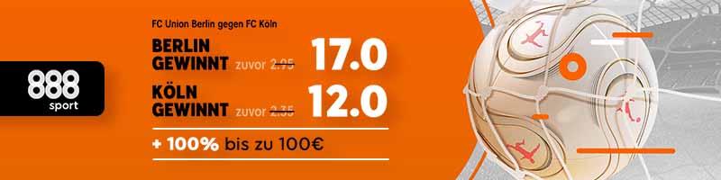 Top-Spiel in der 2. Liga – 888sport erhöht die Quoten auf Union Berlin vs. Köln