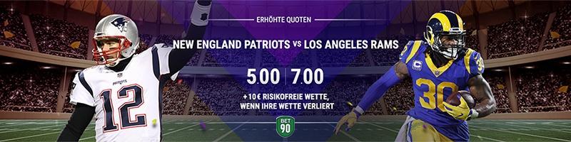 Erhöhte Quote bei bet90 für New England Patriots vs. Los Angeles Rams