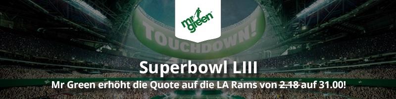 Quotenboost für den Superbowl bei Mr Green Sport: 31.00 auf die LA RAMS