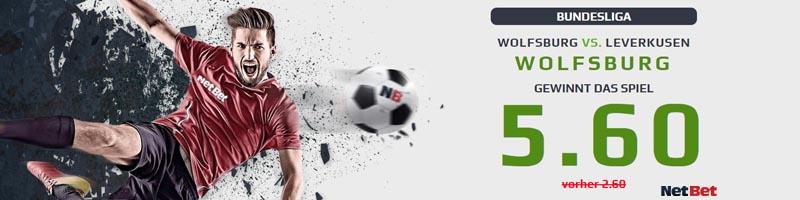Nur bei NetBet: Verbesserte Quote von 5.60 für das Spiel Wolfsburg vs Bayer Leverkusen