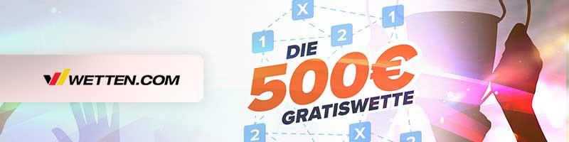 Wetten.com Dauerbonus: Bis zu 500€ als Gartiswette mit Kombiwetten