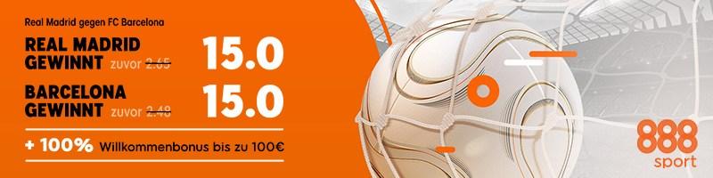 Nur bei 888sport – Top Quote 15 für das Spiel Real Madrid gegen Barcelona
