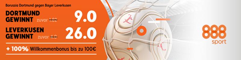 Neukunden-Aktion bei 888sport für das Spiel Dortmund gegen Leverkusen