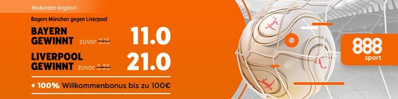 Toller Quotenboost zum Champions League Achtelfinale in München bei 888sport