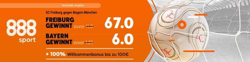 Verlockendes Wettangebot bei 888sport für das Spiel Freiburg gegen Bayern