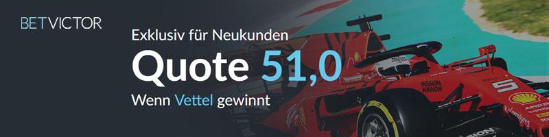 Top-Quote von 51.00 bei BetVictor für den Sieg von Sebastian Vettel in Australien