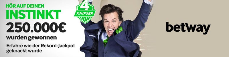 Betway 4 Knipser Jackpot: Vier Spieler teilen sich den 250.000€ Rekordgewinn