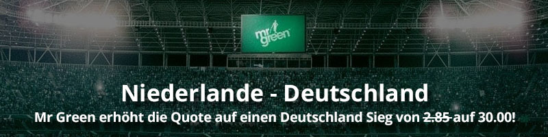 Jetzt bei Mr Green Sport hohe Quote von 30.00 für Sieg von Deutschland sichern