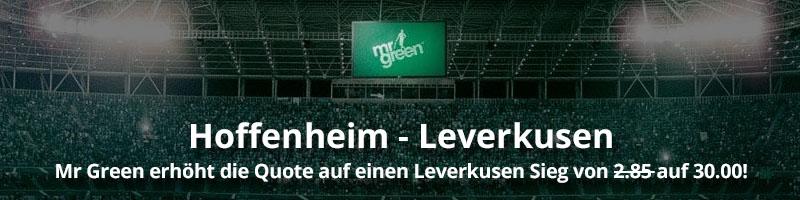 Neukunden-Angebot bei Mr Green Sport für das Spiel Hoffenheim – Leverkusen