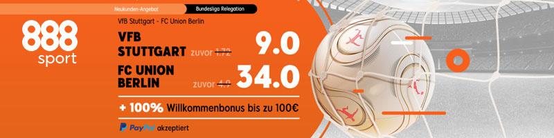 Erhöhte Quote für FC Union Berlin gegen VFB Stuttgart bei 888sport