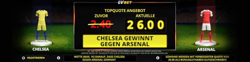 26.0 auf Chelsea Sieg – Topquote bei LVbet für das Europa League Finale gegen Arsenal