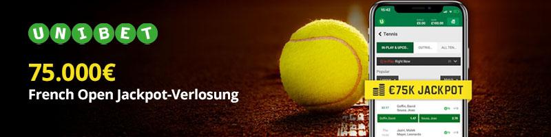 75.000 Euro Jackpot-Verlosung bei Unibet für Wetten auf die French Open