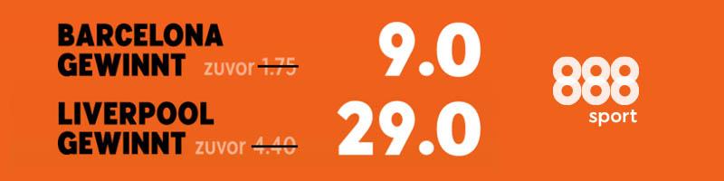Turboquoten bei 888sport – Wettanbieter mit Angebot für Liverpool vs. Barcelona