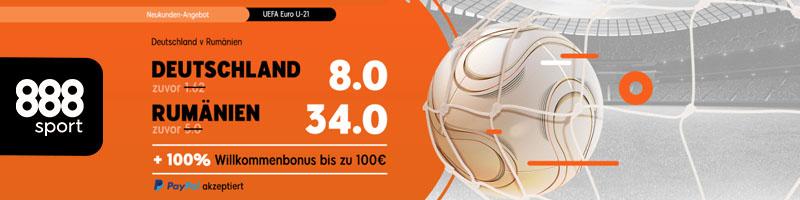 UEFA Euro-21: Turboquote für Rumänien gegen Deutschland bei 888sport