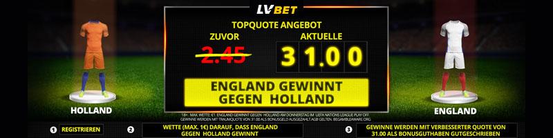 Top-Quote 31.0 bei LVBet – Hohe Gewinne wenn England gewinnt
