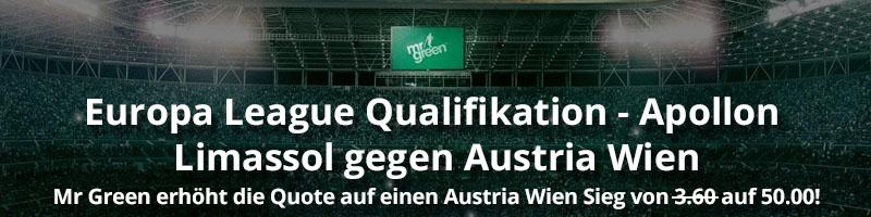Neue Promoaktion von Mr Green Sport für die EL Qualifikation