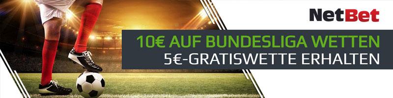 Wöchentlich Bundesliga tippen bei NetBet und 5€-Gratiswette erhalten