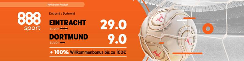 Erhöhte Quoten für die Eintracht Frankfurt gegen Borussia Dortmund bei 888sport